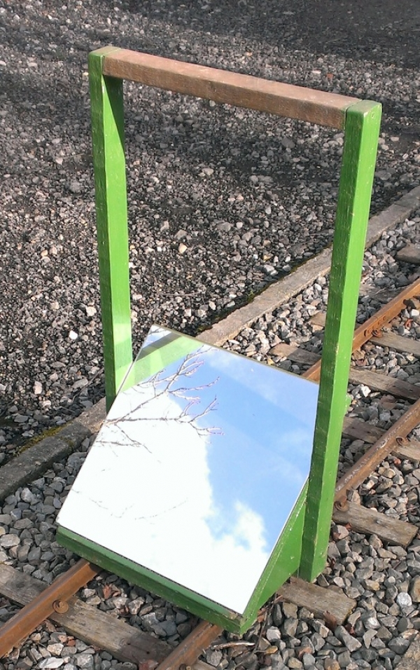 We use a simple arrangement of a mirror set at 45degrees to view track alignment irregularities. The carrying handle can also take a spirit level for quickly checking the 'cant'. Mirror is a 300mm square mirror tile available from DIY stores, the rest is made from timber odds & ends.