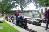 Two feldbahn locos from Northampton join the celebrations at Swindon